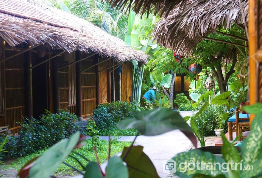 Căn nhà mái lợp bốn bề đều là cây xanh (ảnh internet)