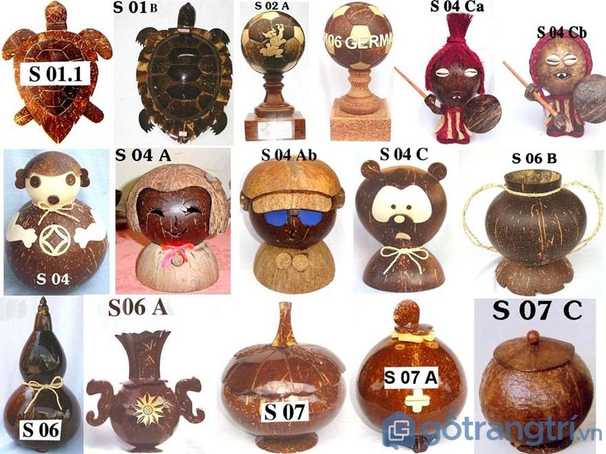 Sản phẩm mỹ nghệ làm từ gáo dừa với những món đồ lưu niệm đẹp mắt - Ảnh: Internet