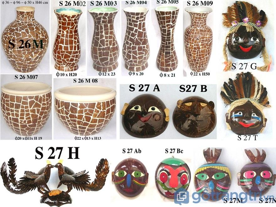 Sản phẩm mỹ nghệ làm từ gáo dừa dùng làm đồ trang trí - Ảnh: Internet