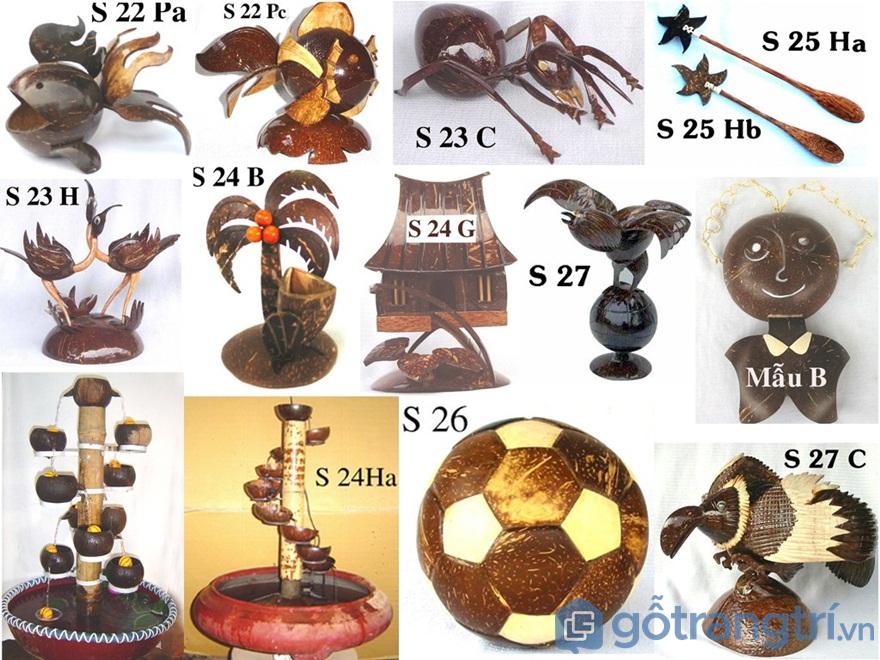 Những món đồ trang trí làm từ gáo dừa trông rất sáng tạo - Ảnh: Internet