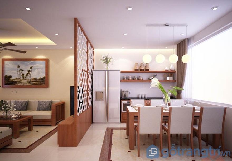 Vách ngăn phòng khách và bếp cnc màu trắng - Ảnh: Internet