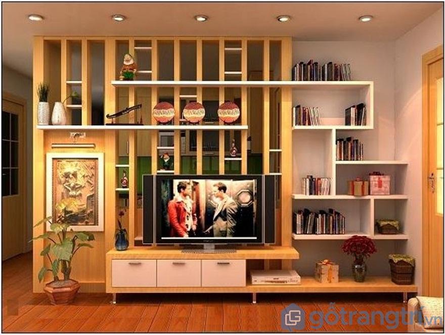 Vách ngăn gỗ phòng khách và bếp từ chất gỗ công nghiệp - Ảnh: Internet
