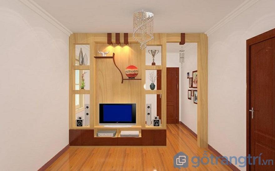 Vách ngăn phòng khách và bếp từ chất gỗ công nghiệp đơn giản - Ảnh: Internet