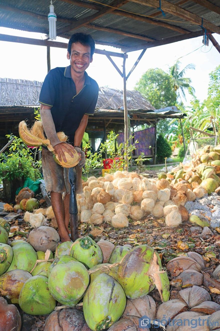 Tách vỏ dừa - Ảnh: Internet