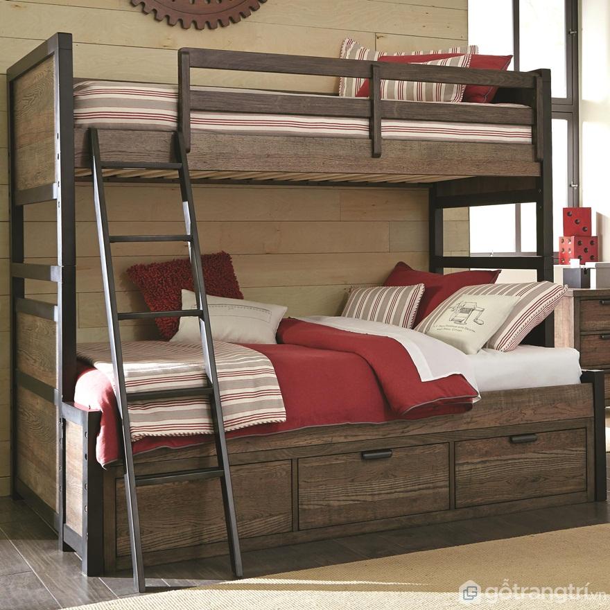 Giường tầng cho người lớn sinh đôi làm bằng gỗ rất sang trọng - Ảnh: Internet