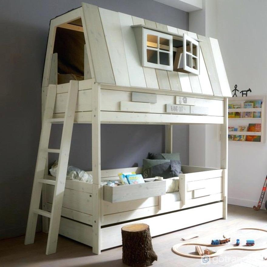 Mẫu giường tầng hình ngôi nhà thiết kế vô cùng đơn giản - Ảnh: Internet