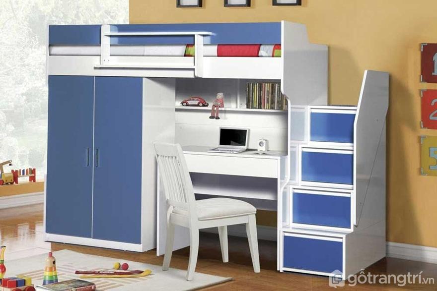Bộ giường tầng màu xanh trắng tích hợp bàn học tiện nghi - Ảnh: Internet