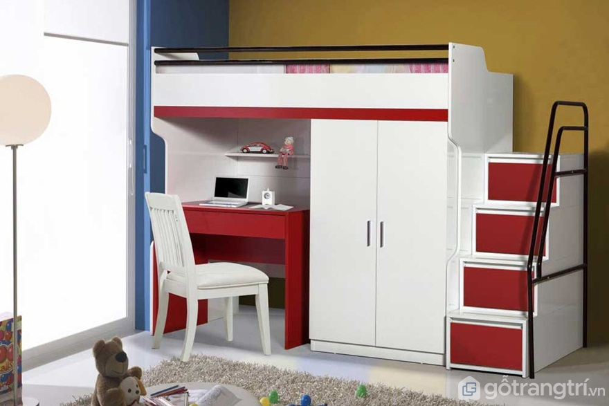 Bộ giường tầng màu đỏ trắng tích hợp bàn học tiện nghi - Ảnh: Internet