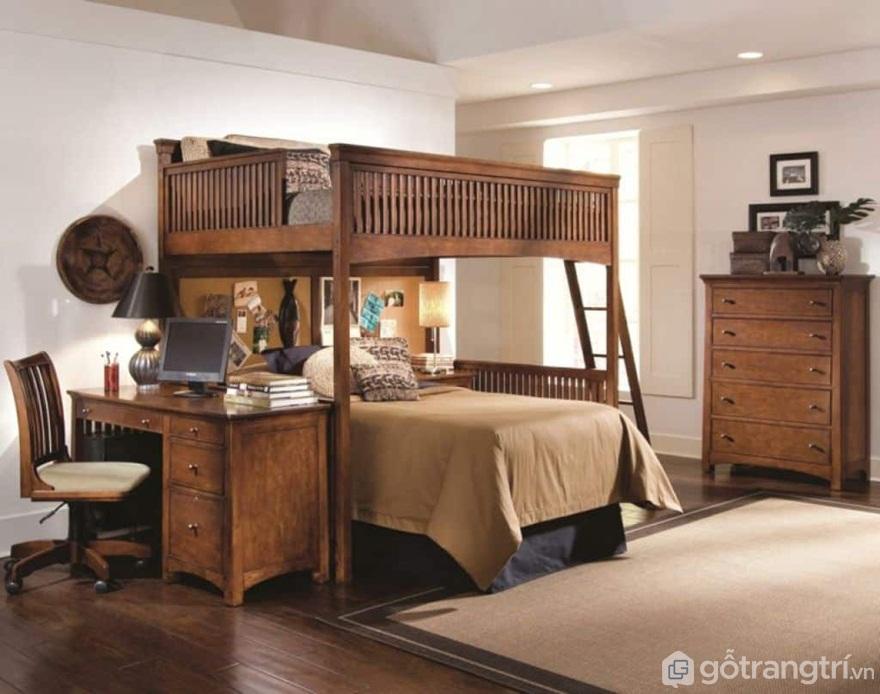 Giường tầng bằng gỗ được tích hợp bàn làm việc mang đến sự tiện lợi cho người sử dụng - Ảnh: Internet