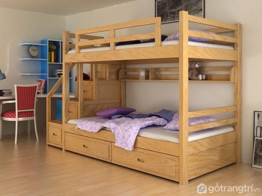 Giường tầng gỗ tự nhiên mang vẻ đẹp trang nhã - Ảnh: Internet