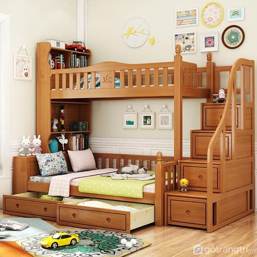 Mẫu 03: Giường tầng gỗ sồi vân gỗ tự nhiên - Ảnh: Internet