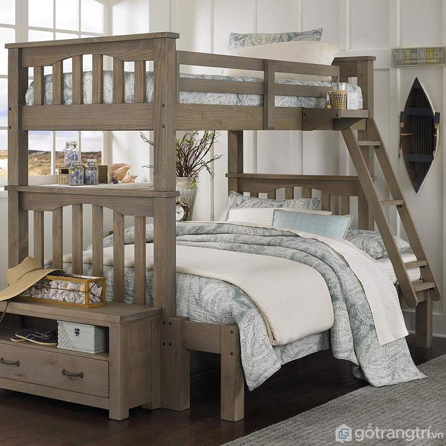 Mẫu 01: Giường tầng gỗ óc chó mang vẻ đẹp tự nhiên - Ảnh: Internet