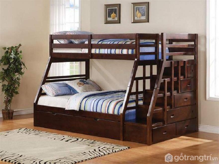 Mẫu 01: Giường tầng gỗ óc chó mang vẻ đẹp sang trọng - Ảnh: Internet