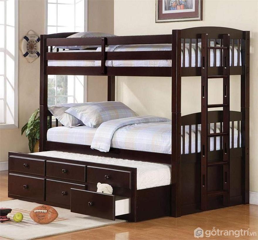 Mẫu 05: Giường tầng gỗ óc chó tiện lợi cho người sử dụng - Ảnh: Internet