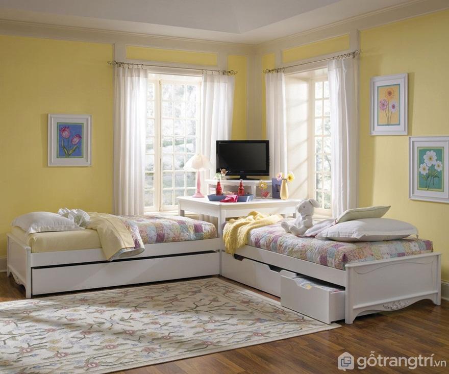 Kê 2 giường trong phòng ngủ theo góc - Ảnh: Internet