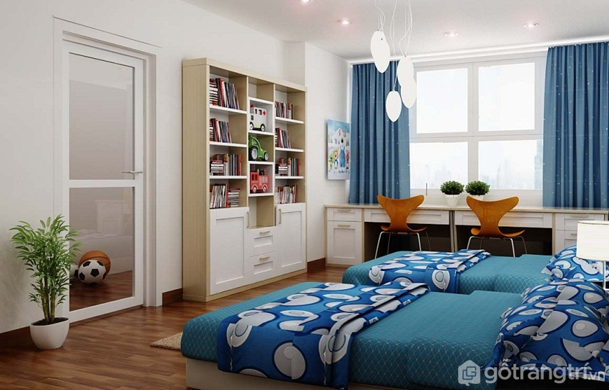 Kê 2 giường thẳng hàng với nhau theo chiều dài căn phòng - Ảnh: Internet