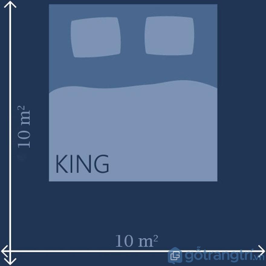 Kích thước giường Queen & King đối với phòng 10m2 - Ảnh: Internet