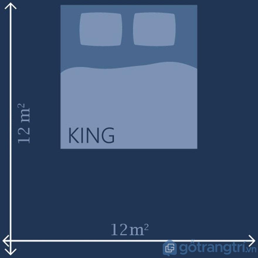 Kích thước giường Queen & King đối với phòng 12m2 - Ảnh: Internet