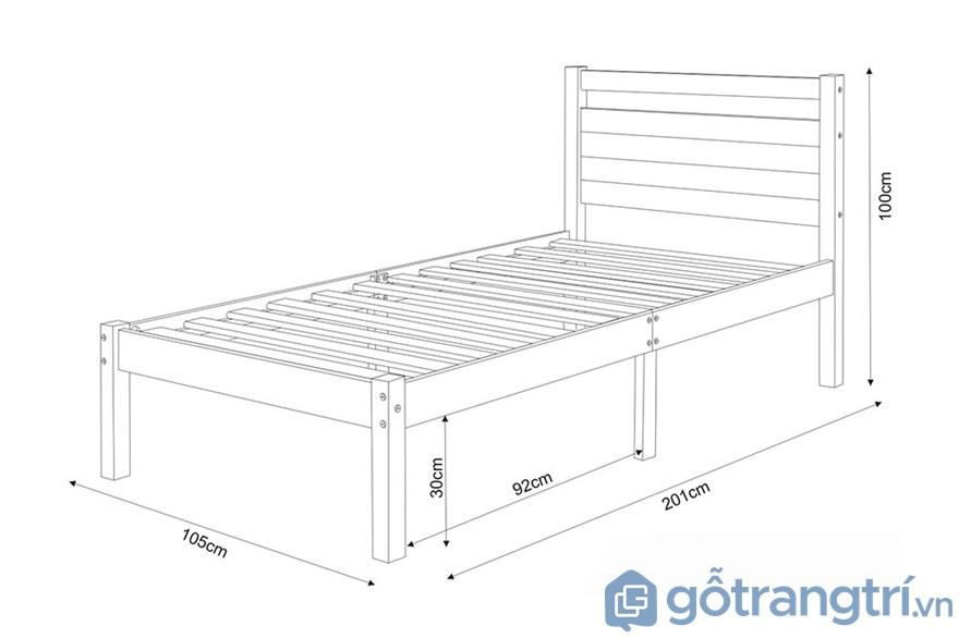 Kích thước giường ngủ: Giường đơn - Ảnh: Internet