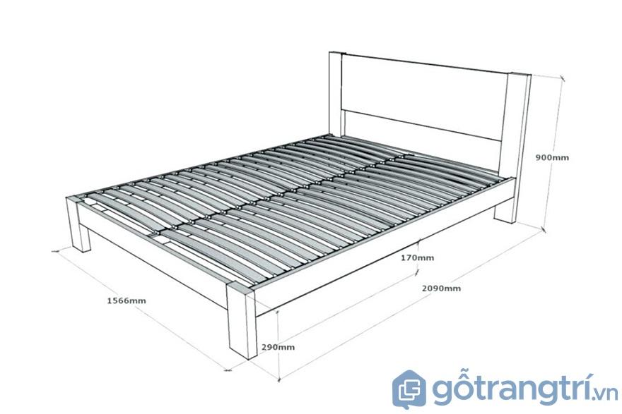Kích thước giường ngủ: Giường đôi - Ảnh: Internet