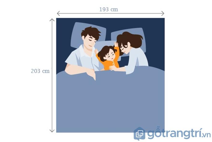 Đối với giường ngủ King size dành cho 2 vợ chồng và 1 con nhỏ - Ảnh: Internet
