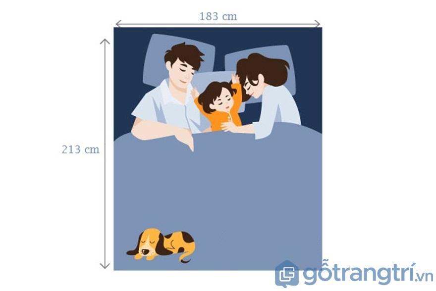 Đối với giường ngủ King Extra dành cho 2 vợ chồng và 1 con nhỏ - Ảnh: Internet