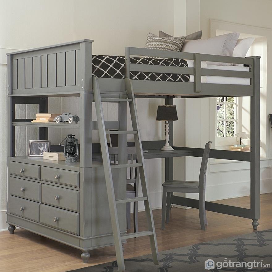 Mẫu 04: Giường tầng kết hợp bàn làm việc - Ảnh: Internet