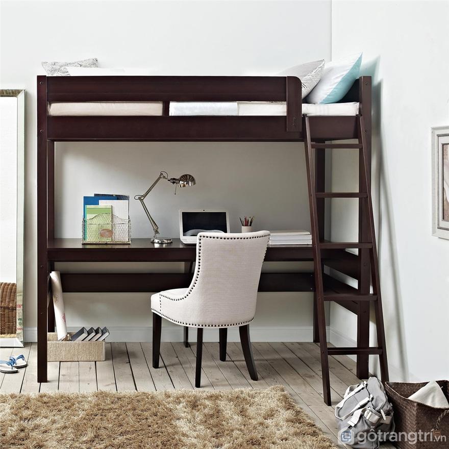 Giường tầng bằng gỗ tích hợp bàn làm việc - Ảnh: Internet