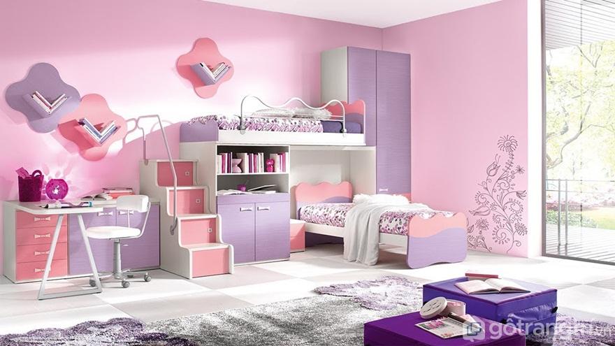 Giường ngủ cho bé gái phối hợp hài hòa giữa màu hồng, tím và trắng - Ảnh: Internet