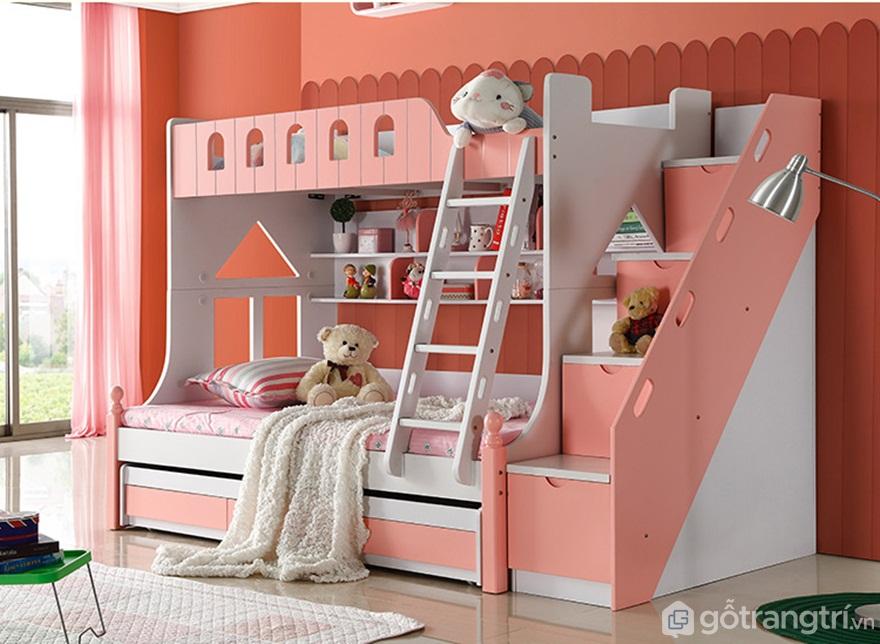 Giường tầng cho bé gái phối hợp hài hòa giữa màu hồng đất và màu trắng - Ảnh: Internet