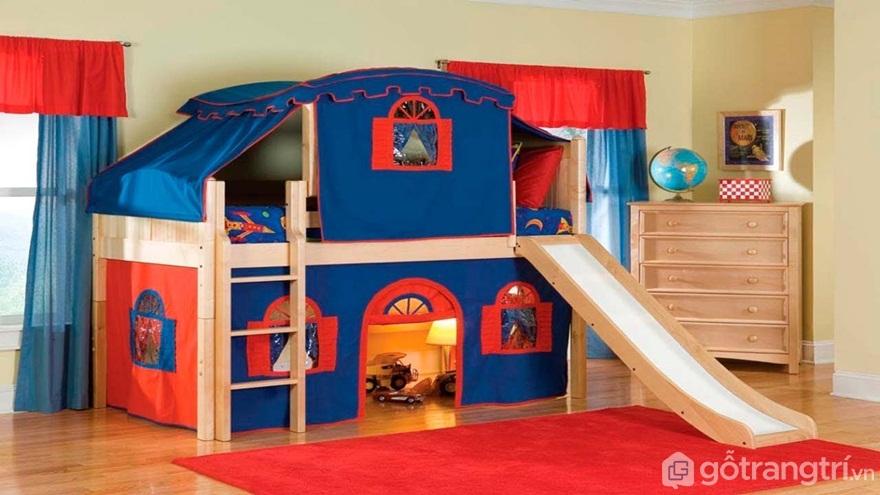 Giường tầng bé trai có cầu trượt - Ảnh: Internet