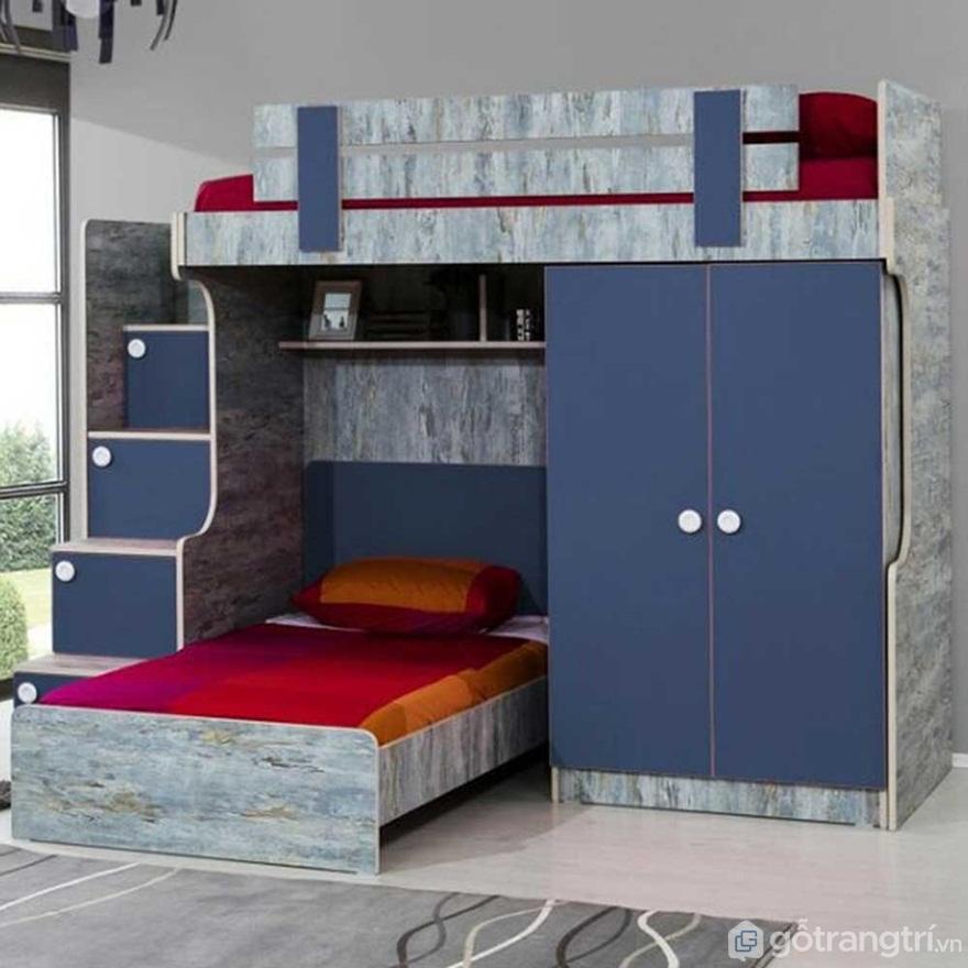 Một chiếc giường tầng khi tích hợp với tủ quần áo sẽ cho ta thấy sự ngăn nắp, gọn gàng và cực sáng tạo - Ảnh: Internet