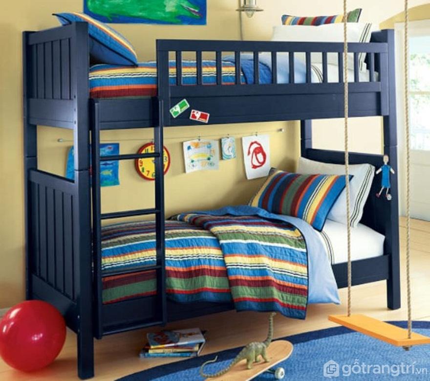 Giường tầng màu xanh mang đến sự tươi mát cho căn phòng ngủ - Ảnh: Internet