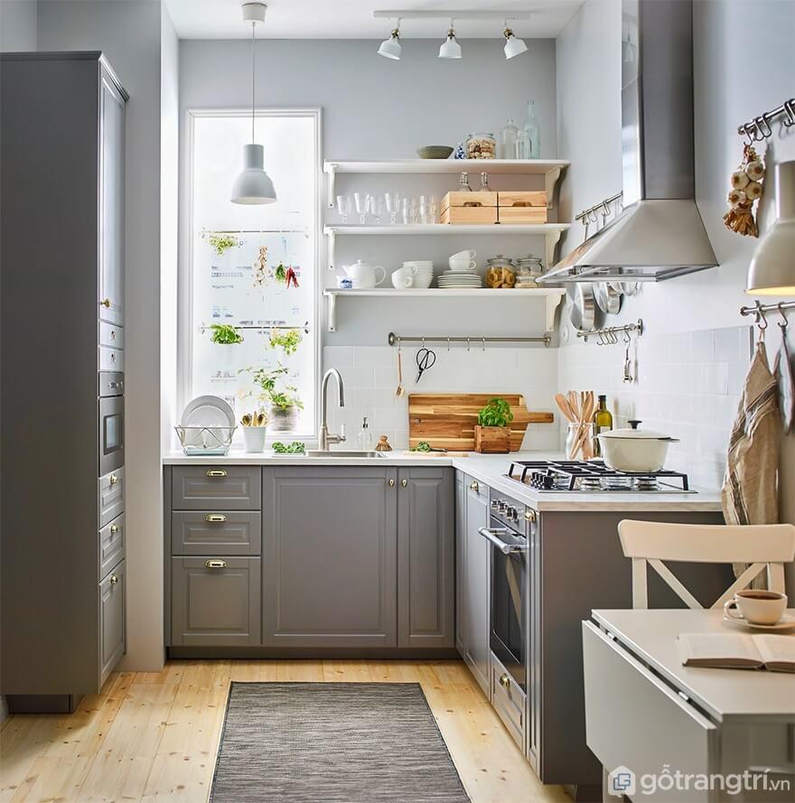 Mẫu 01: Nhà bếp nhỏ với tông màu ghi sạch đẹp - Ảnh: Internet