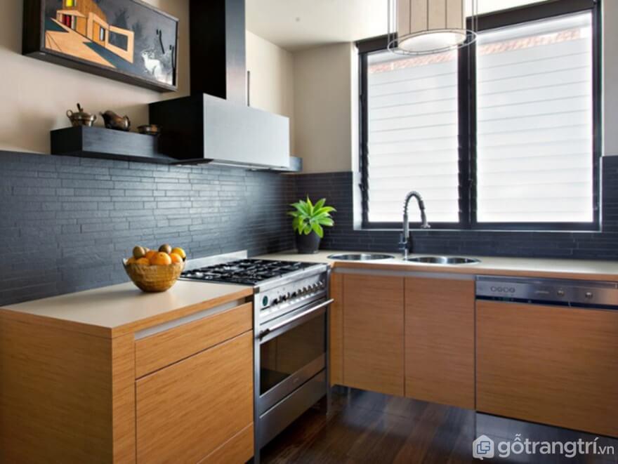 Ý tưởng nhà bếp nhỏ hiện đại với gỗ và tre - Ảnh: Internet