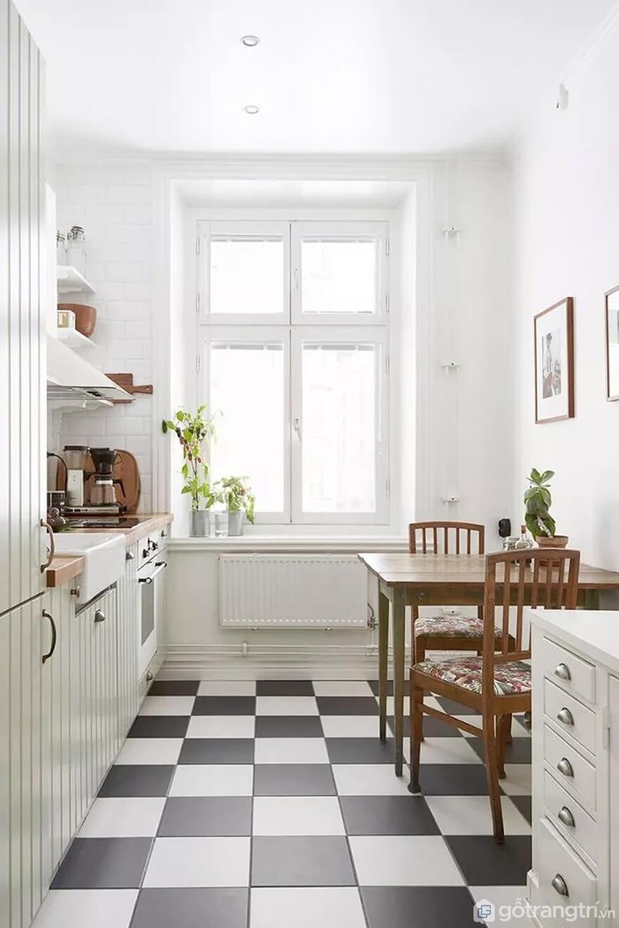 Mẫu 04: Nhà bếp nhỏ nổi bật với gạch bông - Ảnh: Internet