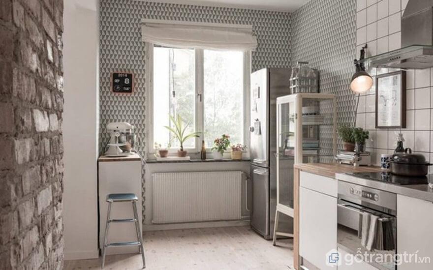 Mẫu 02: Nội thất nhà bếp theo phong cách Bắc Âu nổi bật với bức tường gạch thô cứng - Ảnh: Internet