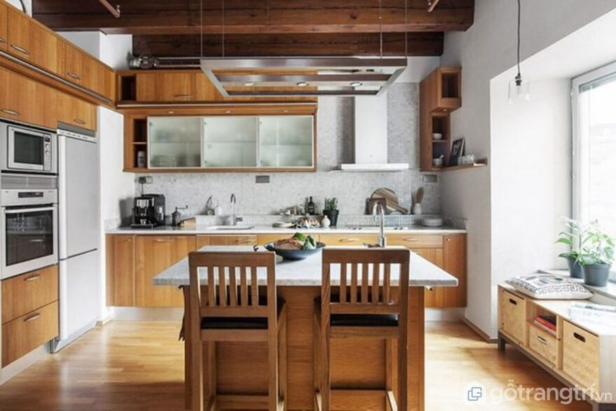 Mẫu 04: Nội thất nhà bếp theo phong cách Bắc Âu với tông màu nâu ấm cúng - Ảnh: Internet