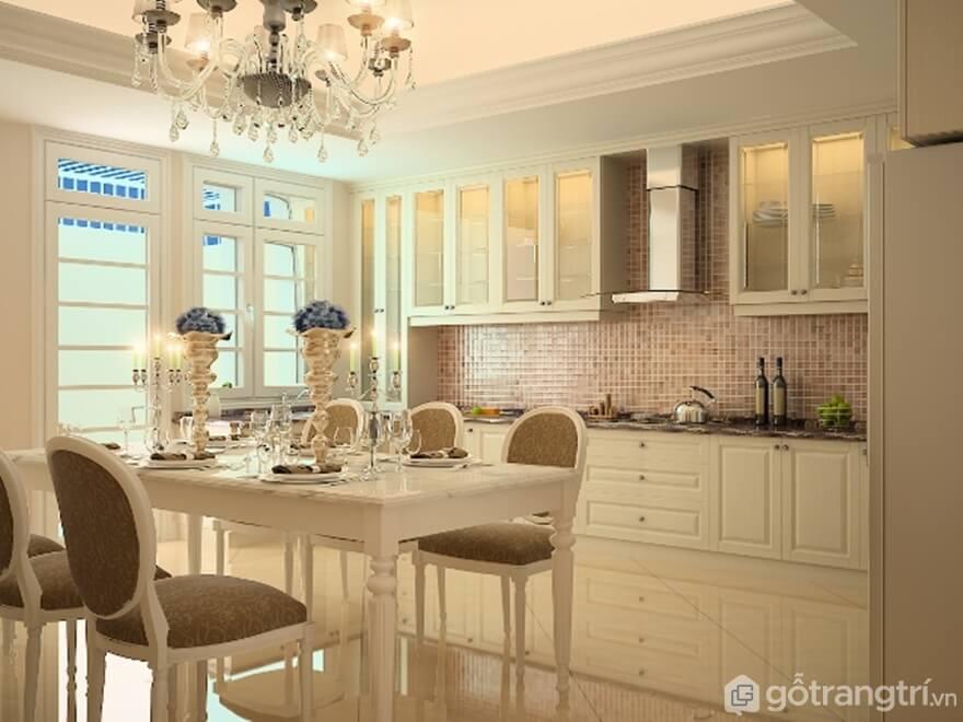 Mẫu 01: Mẫu phòng ăn nhà bếp theo phong cách cổ điển sang trọng - Ảnh: Internet