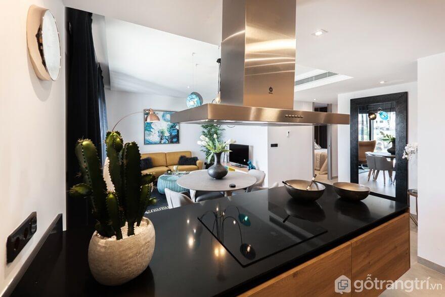 Mẫu 06: Sự xuất hiện cây cảnh nhỏ trong phòng bếp đẹp hiện đại - Ảnh: Internet
