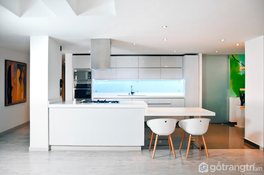 Mẫu 08: Phòng bếp hiện đại với gam màu trắng - Ảnh: Internet