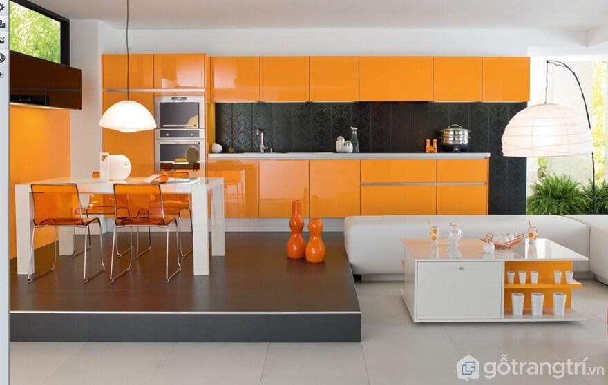 Sử dụng tông màu cam trong thiết kế bếp ăn - Ảnh: Internet