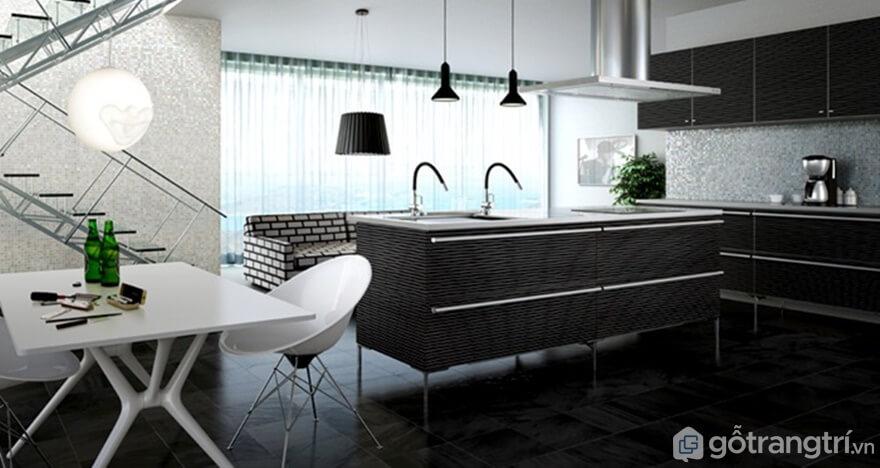 Phòng bếp sử dụng vật liệu tự nhiên - Ảnh: Internet