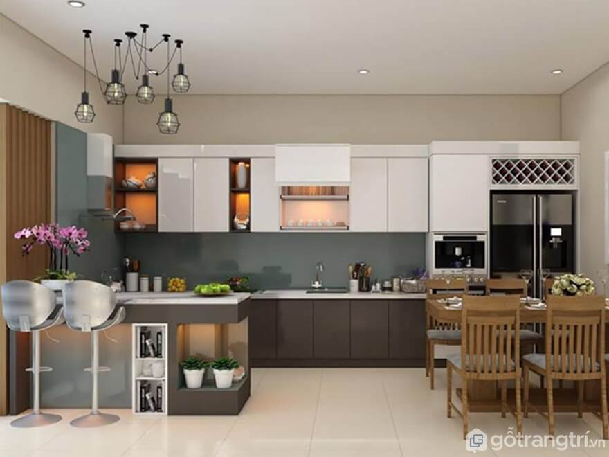 Bật mí cách thiết kế phòng bếp đẹp hiện đại trở nên quyến rũ hơn - Ảnh: Internet