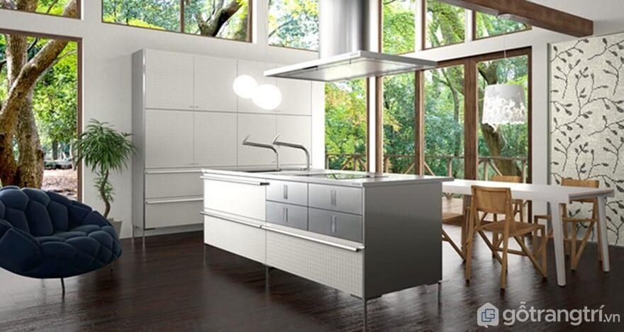 Phòng bếp với mảng tường họa tiết rất ấn tượng - Ảnh: Internet