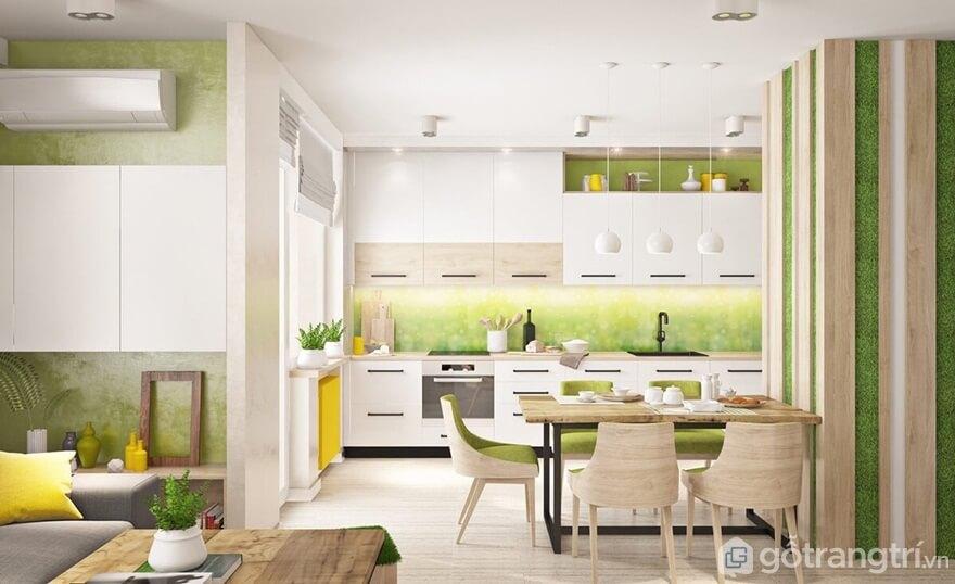 Mẫu 10: Phòng bếp nổi bật với gam màu xanh và trắng - Ảnh: Internet