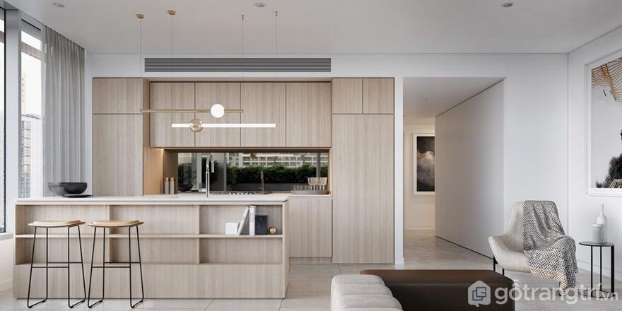 Mẫu 04: Phòng bếp hiện đại kết hợp không gian mở - Ảnh: Internet