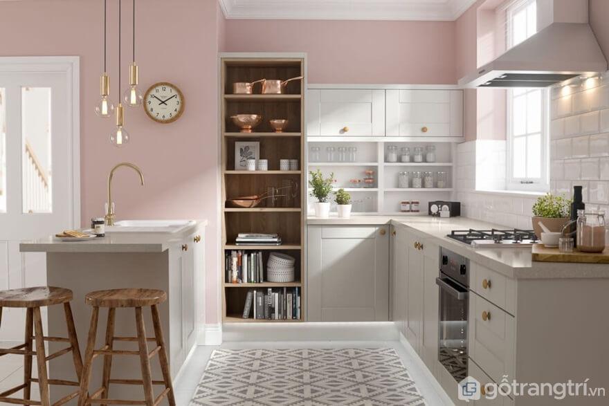 Mẫu 06: Phòng bếp với tông màu hồng nhẹ nhàng - Ảnh: Internet