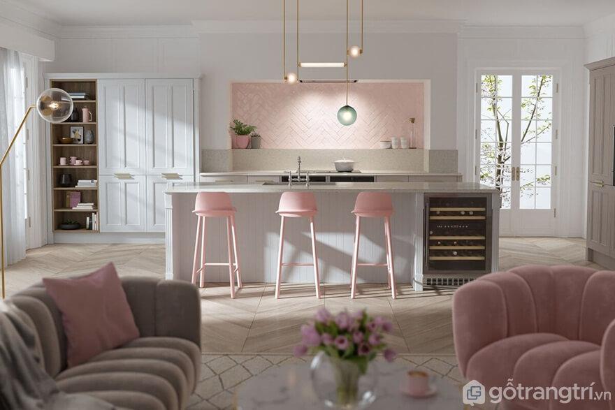 Mẫu 07: Phòng bếp sang trọng với gam màu trắng và màu hồng - Ảnh: Internet