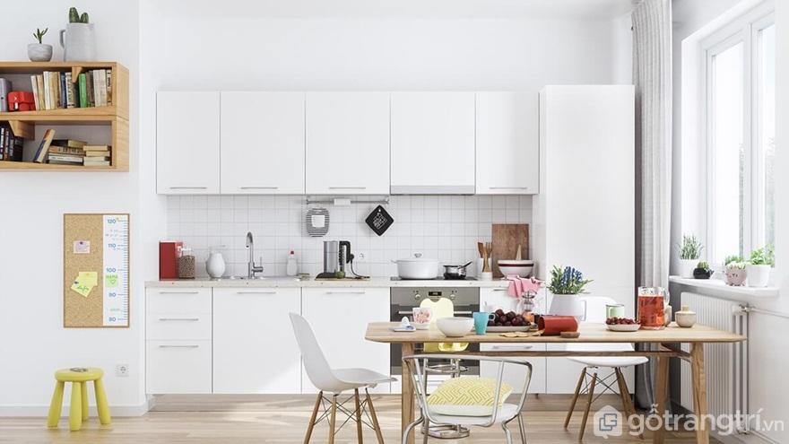 Mẫu 08: Phòng bếp nổi bật với gam màu trắng - Ảnh: Internet
